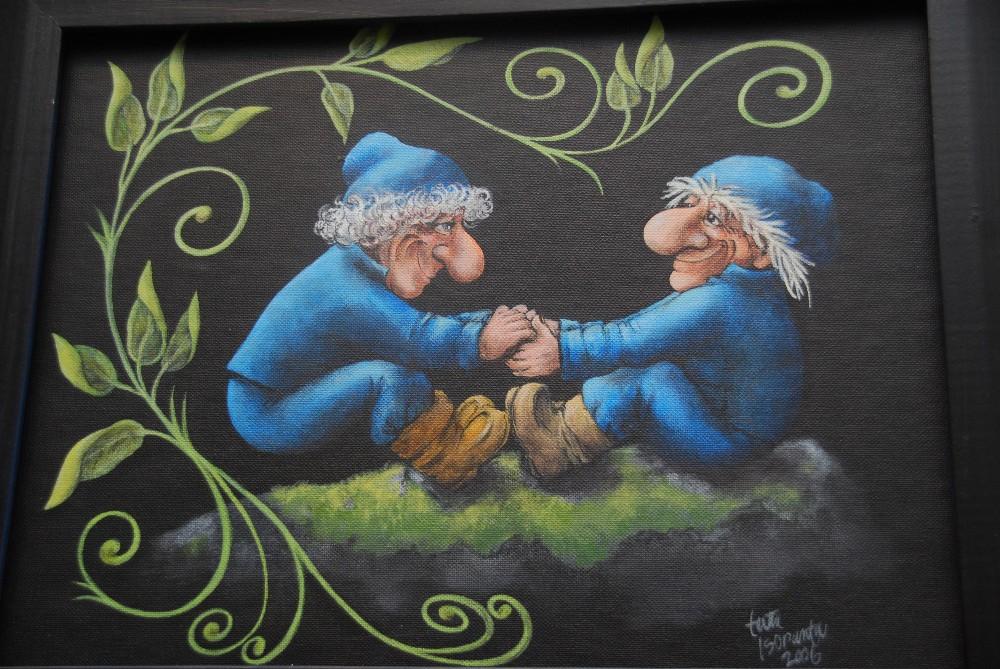 Terttu Isorannan maalaama taulu Yhtä ystävää. menninkäinen menninkäiset vihreä köynnös
